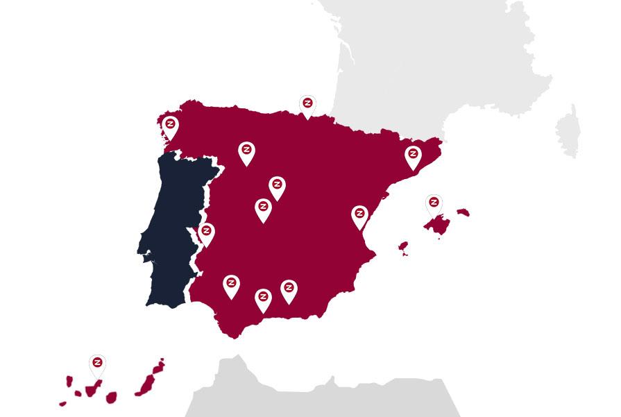 Mapa España delegaciones logísticas